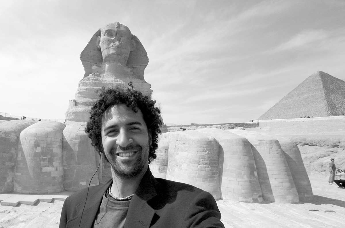 Benjamin Gandhi-Sheaprd at the Spynx in Egypt